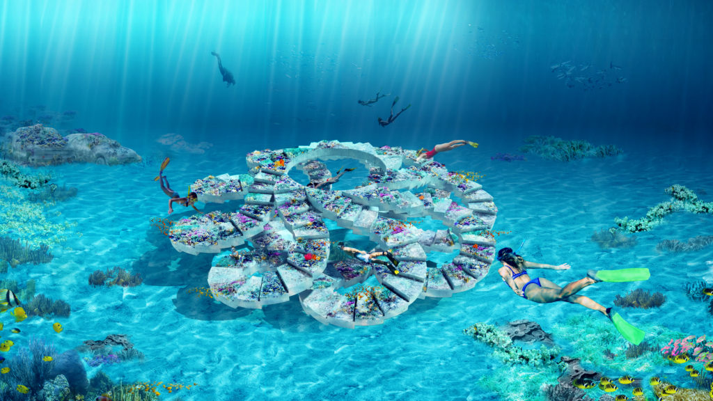 spiral concrete underwater sculpture shaped like many curved stairways linked together in a circle