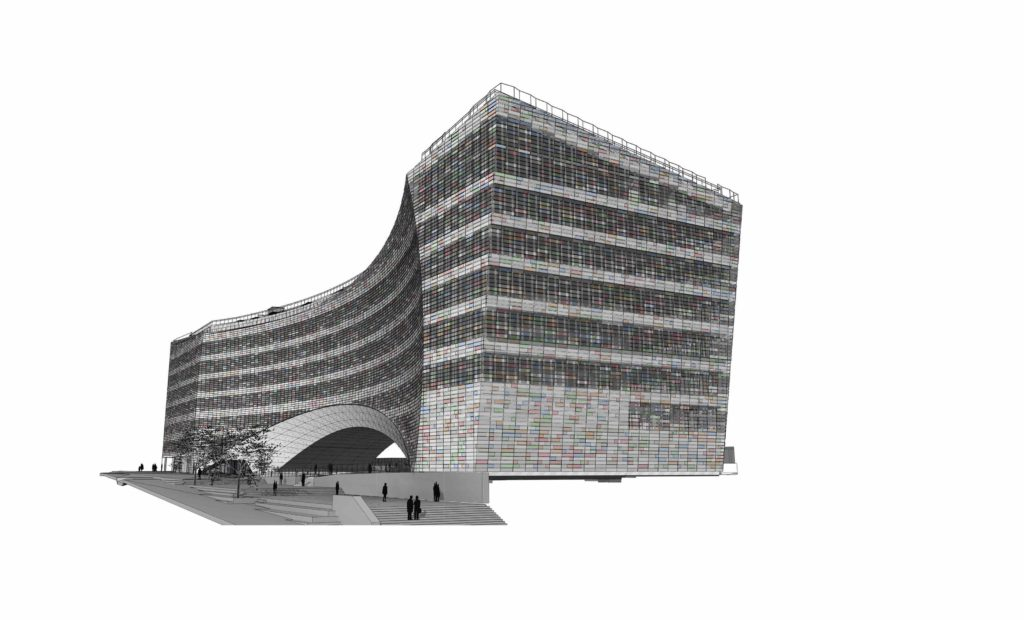 black and white drawing of three-quarters view of building against a while background