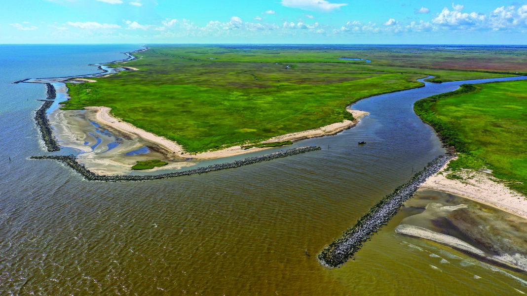 photo of new breakwaters for the Rockefeller wildlife refuge