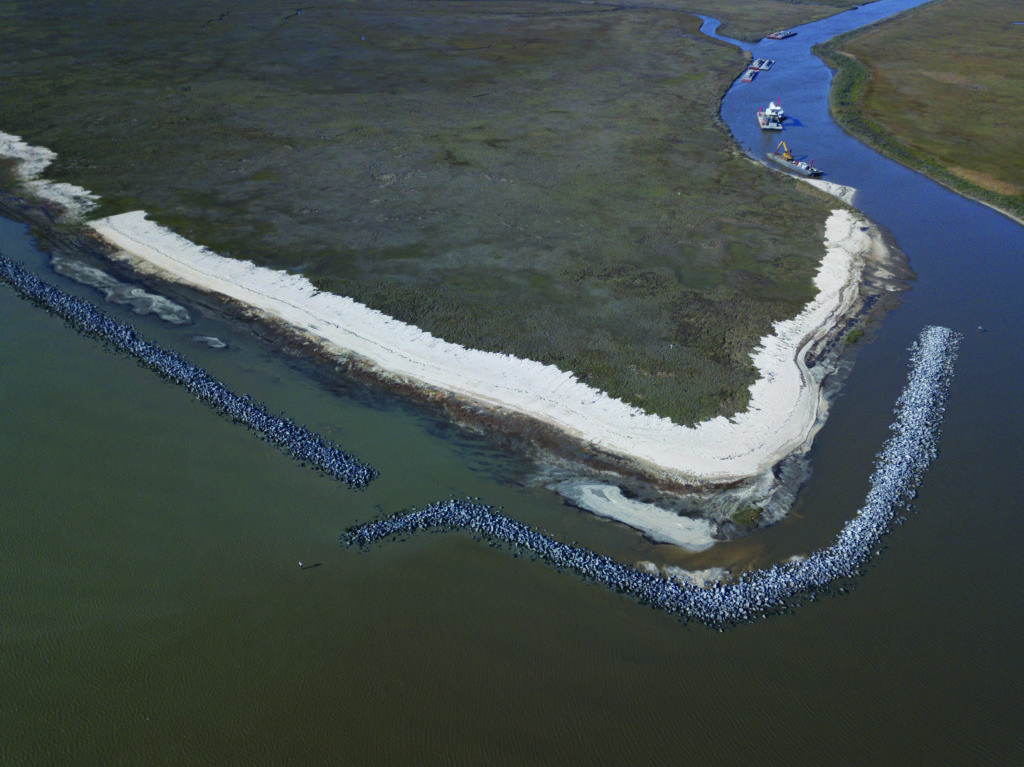 photo of the breakwater segments at the Rockefeller wildlife refuge