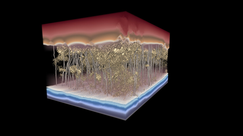 3d model of water moving through a membrane