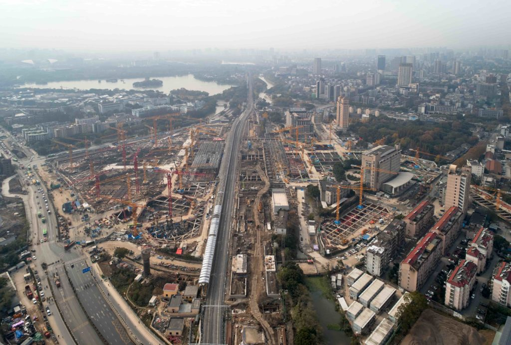 aerial of the train complex under construction