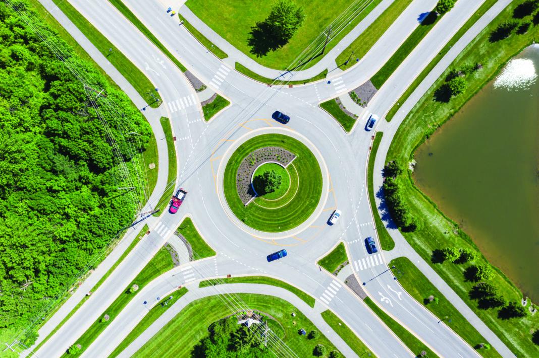 photo of a modern roundabout