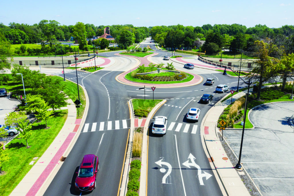 photograph of a modern roundabout
