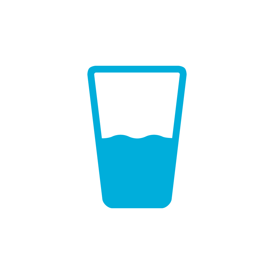 image of a blue cup half filled with water