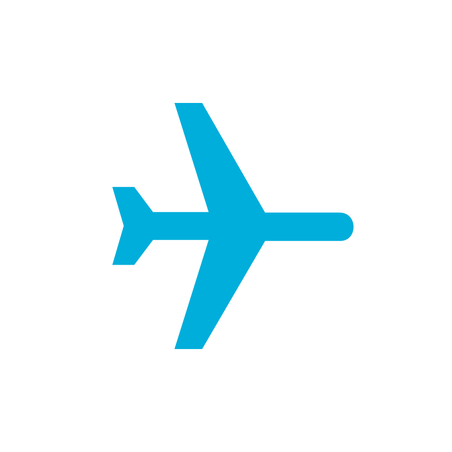 blue plane on white background