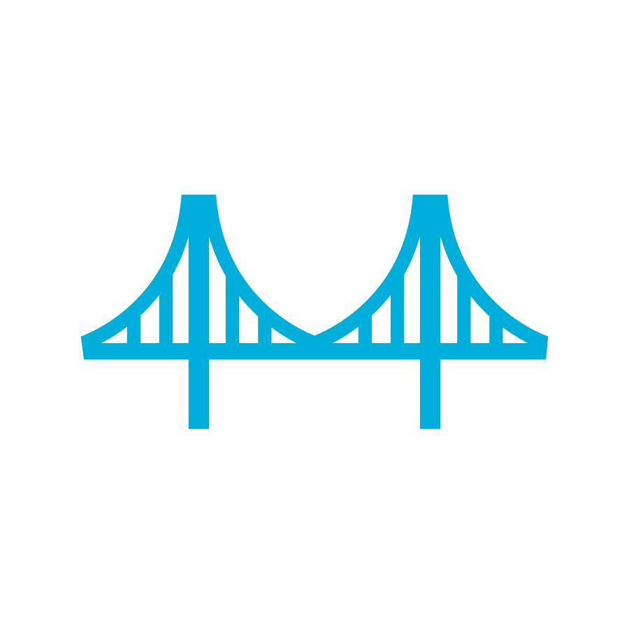 blue bridge on white background