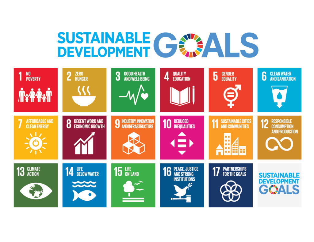 brightly colored graphic of squares denoting each sustainable development goal