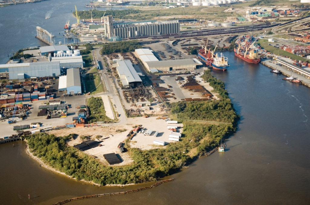 aerial shot of two ships berthed at terminals