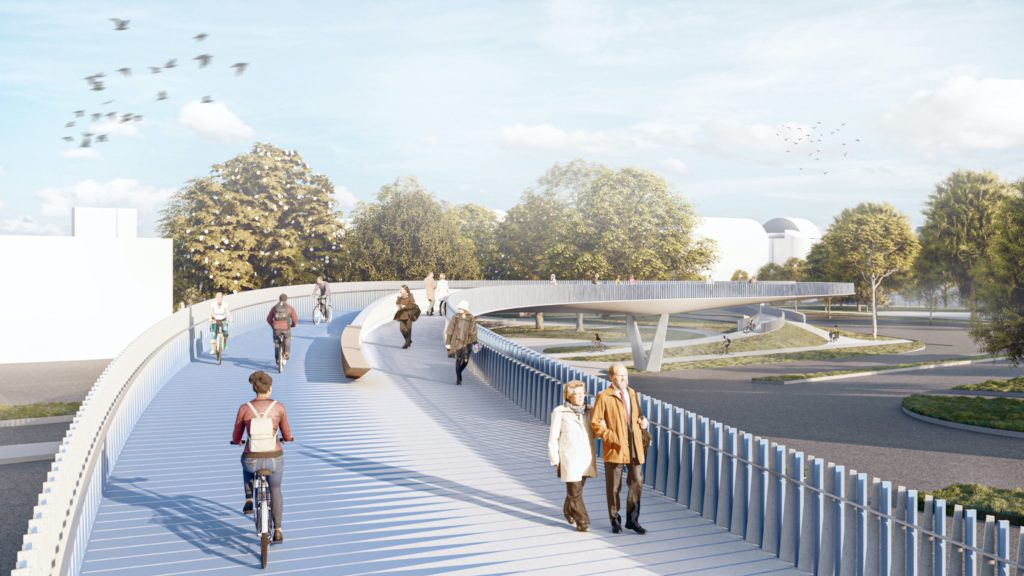 a users view of a bridge with separate paths for pedestrians and bicyclists