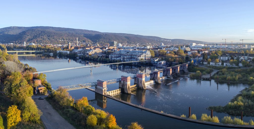 a thin steel crossing placed into a real photograph of Heidelberg
