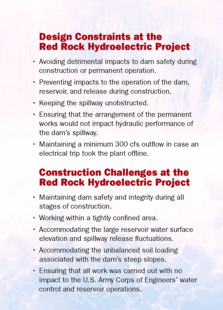 list of design constraints and challenges at red rock dam