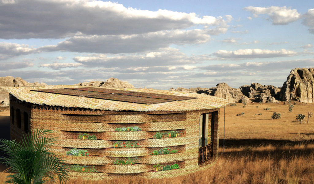 a close look at patterns printed in the walls of a one story building in an arid climate, with grass, sand, and expansive sky surrounding the building