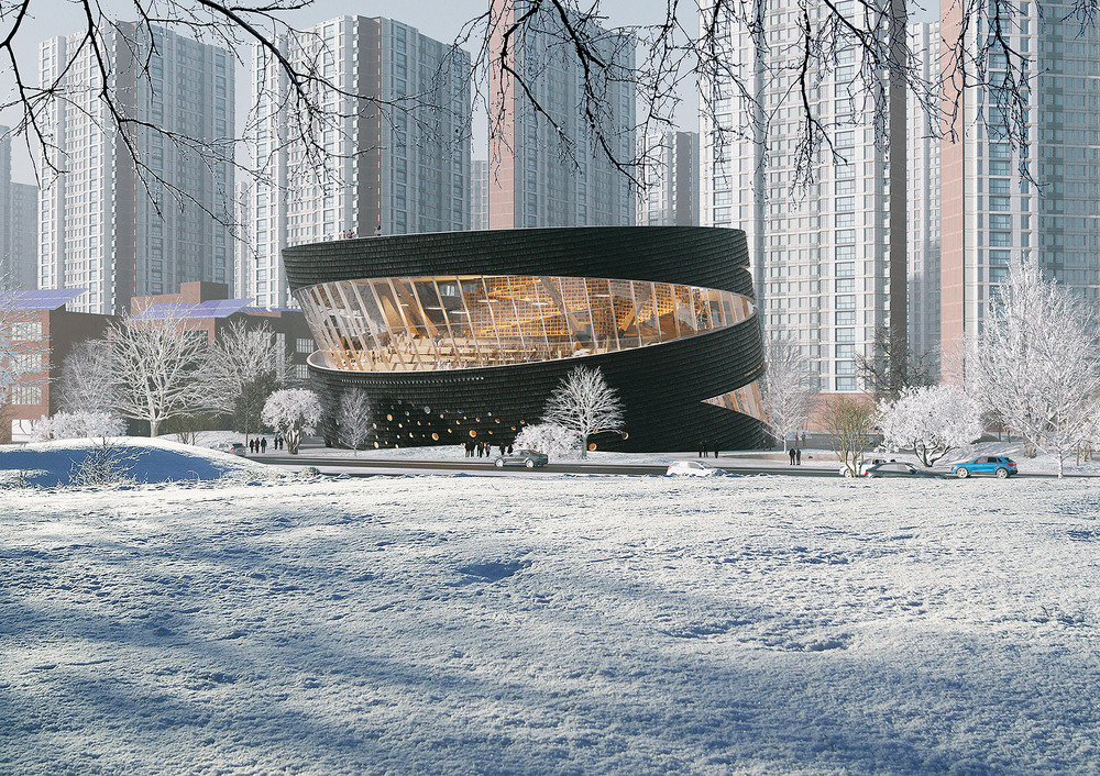 looking across a snowy field at a leaning glass and charred wood multistory building