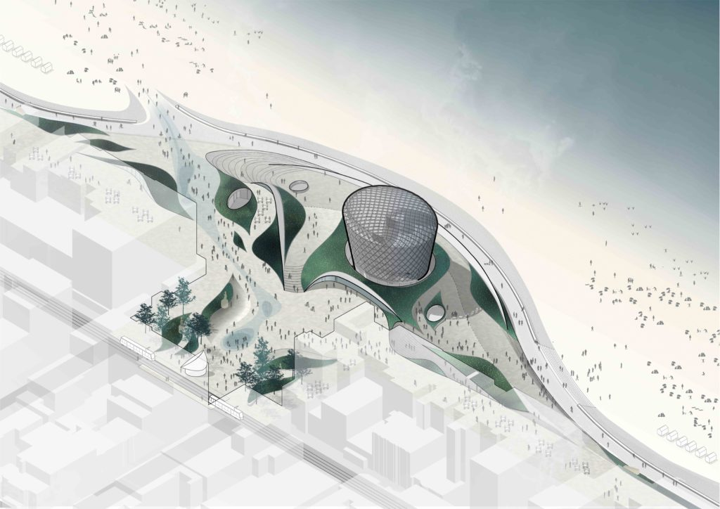 looking down at a drawing that shows a multistory hotel atop a stylized podium shaped like a sand dune