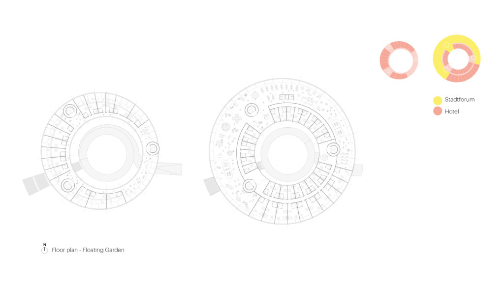 diagram of the interior rooms of a circular building
