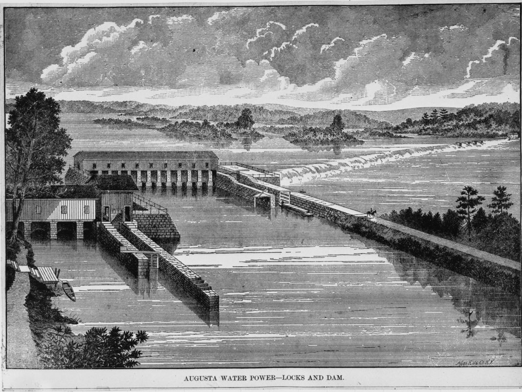 black and white drawing of wing dam in the Savannah River