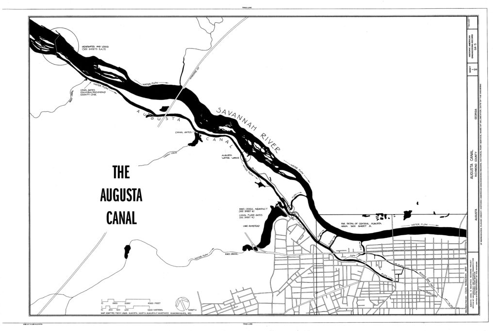map showing the site of the Augusta Canal in the 19th century