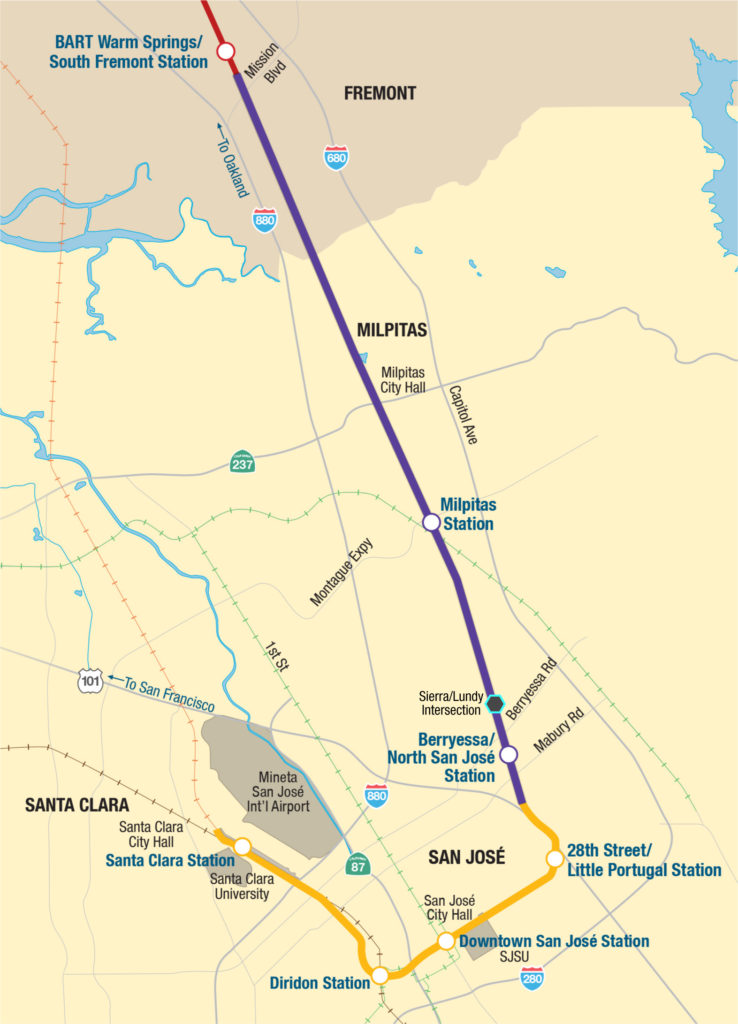 map of the Berryessa extension