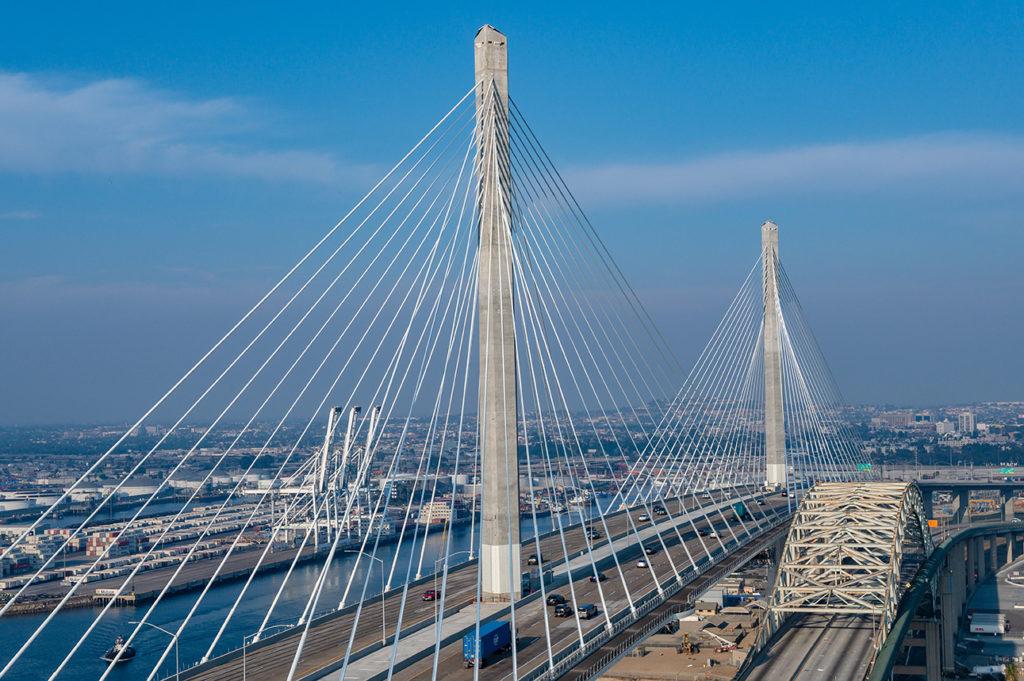 photograph of the new port of Long Beach bridge