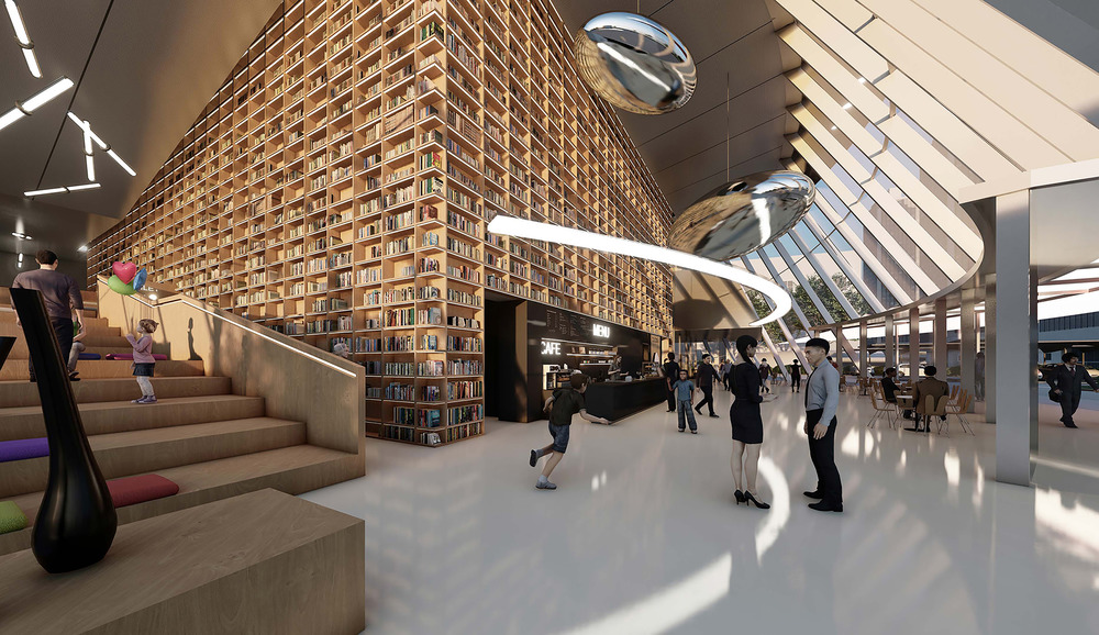 a lobby is set off with a multistory decorative bookcase