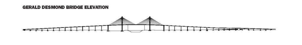 black and white elevation of the new Gerald Desmond Bridge