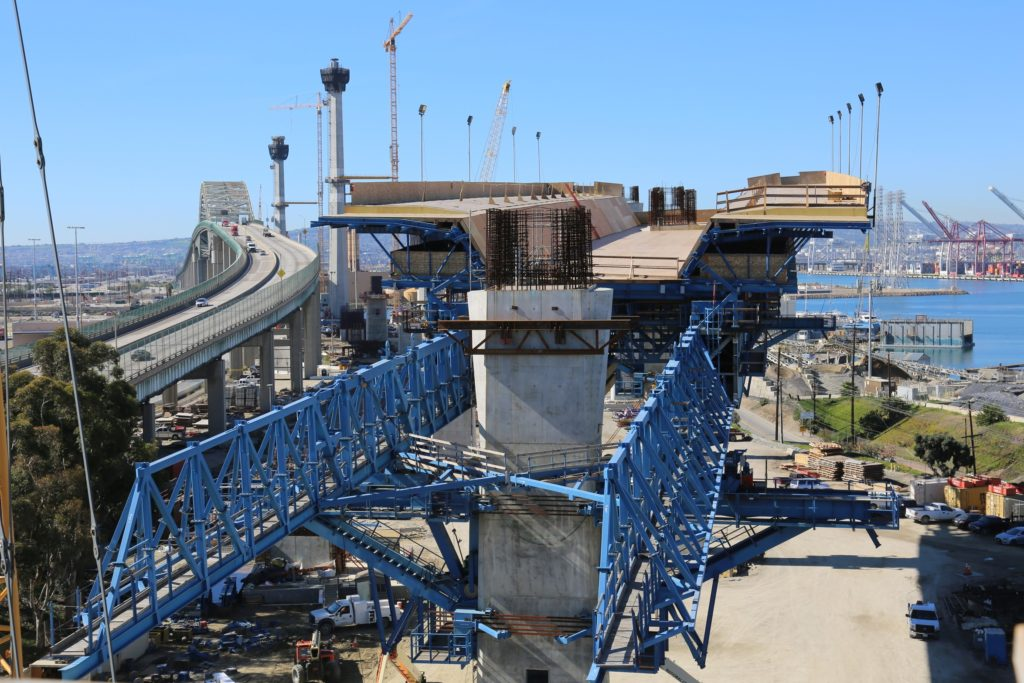 photograph of the movable scaffolding during construction of the Gerald Desmond Bridge
