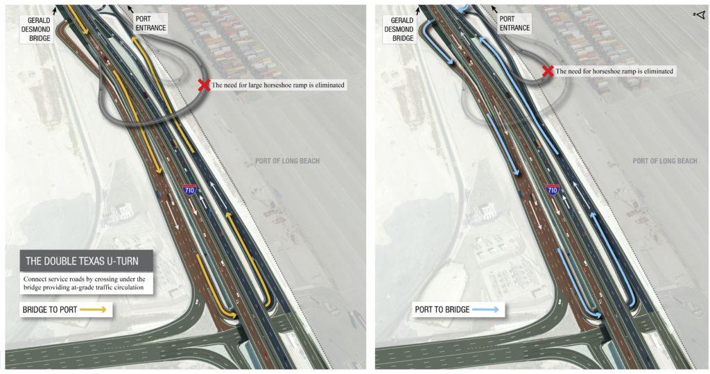 illustration of the double Texas U-turn on the Gerald Desmond Bridge