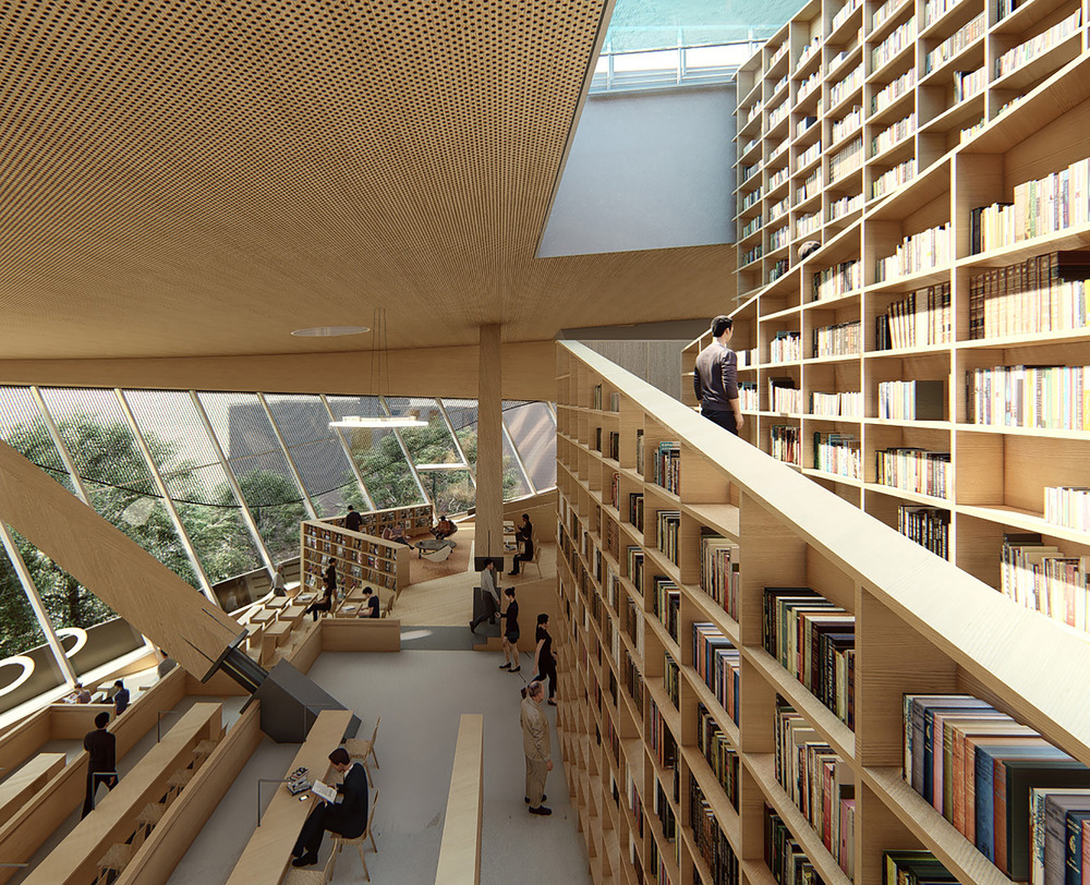 looking across a series of bookshelves of various heights and out a leaning glass curtain wall with a view of treetops