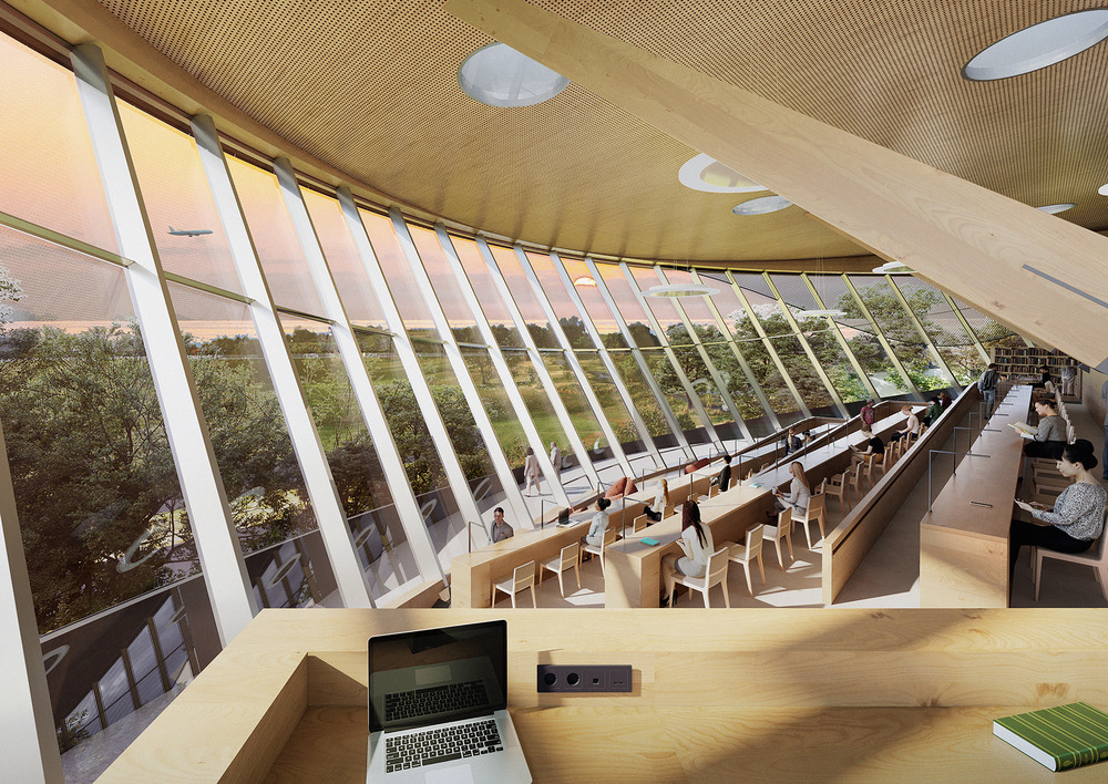 looking at tiered seating and out a large glass curtain wall that leans outward, with views of tree tops and water while a plane flies by