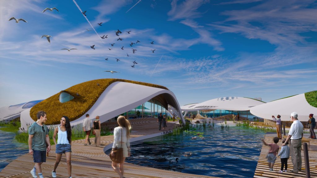 rendering of the walkways at the floating campus at the New York Harbor