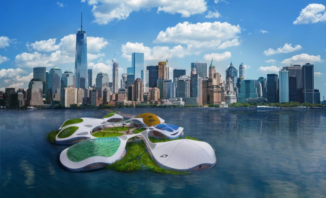 rendering of floating campus on New York Harbor