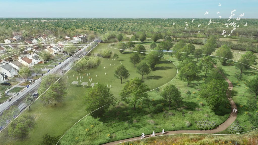 aerial of prairie and woodland habitat and drainage basin