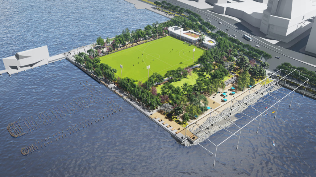 ball parks, a beach, tree lined paths, and a skeletal steel public art installation are all plotted out within a rectangular shaped waterfront park