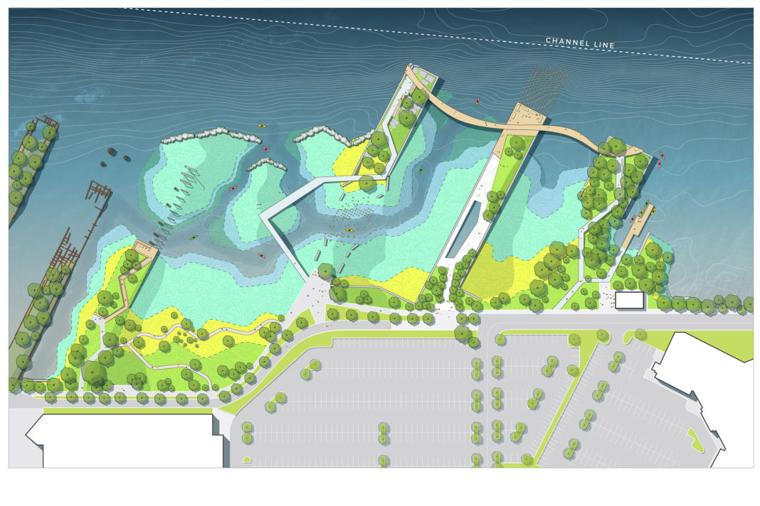 top-down rendering showing a series of piers connected by a walkways with vegetation on shore and in the water