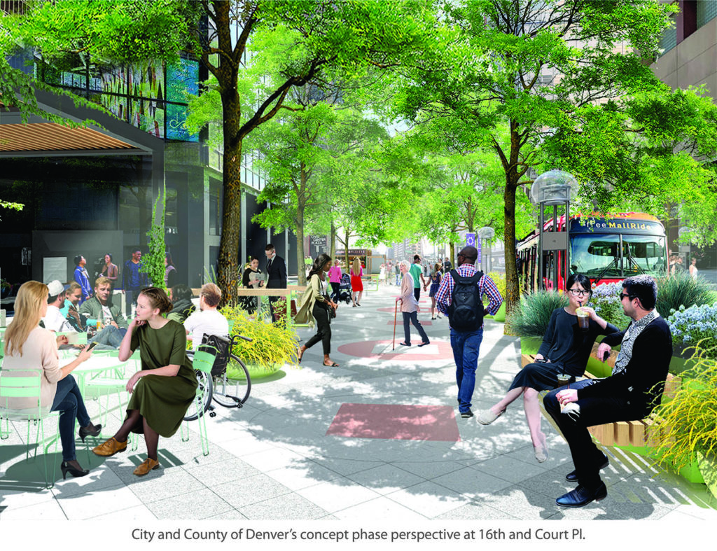 rendering of a wide sidewalks with plenty of seating and trees