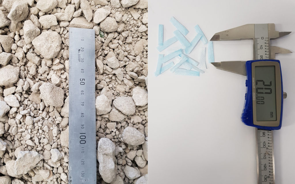 a split image showing rubble on the left with a ruler and small rectangular blue sections of material being measured on the right