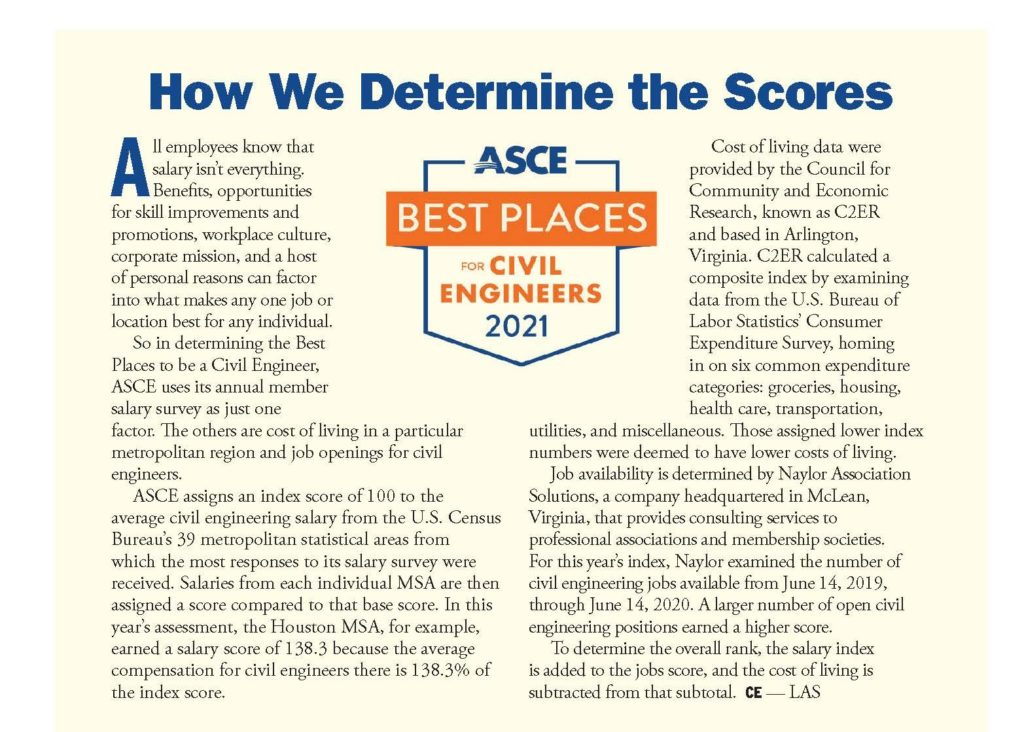 information showing how ASCE determined th best places scores