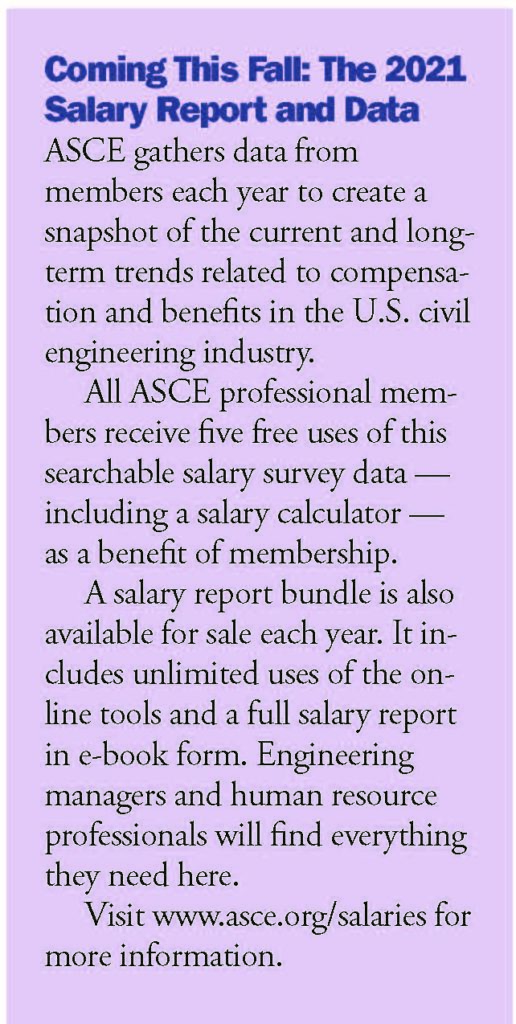 info about the 2021 ASCE salary report and data