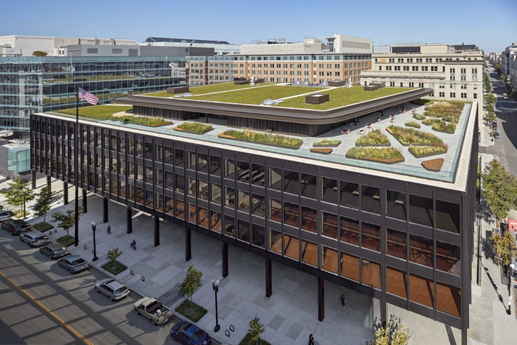 exterior shot of the MLK Library showing the various levels of the building including the rooftop deck