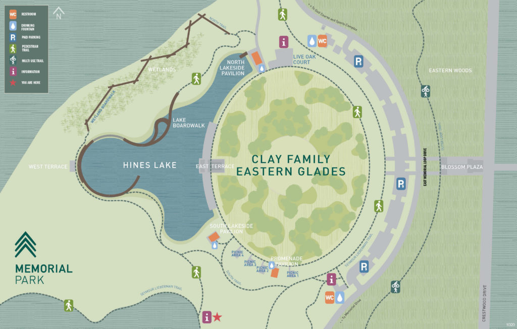map of the eastern glades showing the lake, greenspaces, pavilion and boardwalk