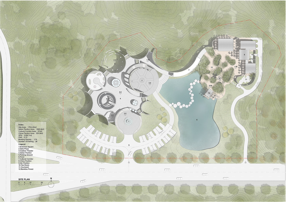 top-down map of the two linked pavilions and pond