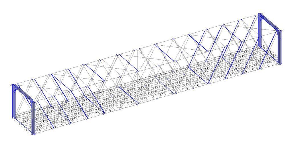 black and white graphic representation of a model of the bridge
