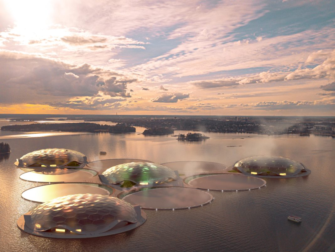 rendering of 10 round rings floating on water, four of them have domes