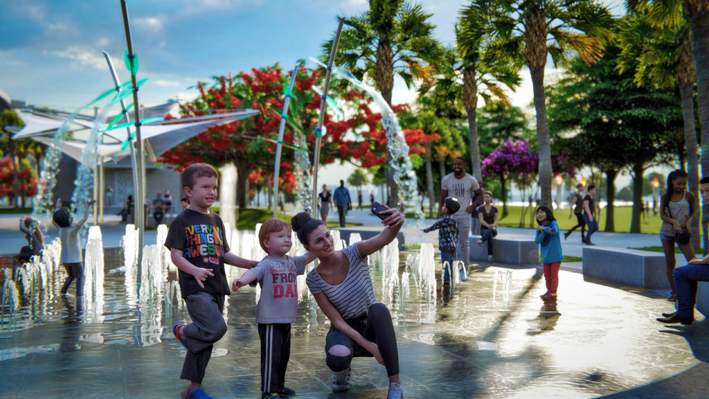 pop-up jet fountains at the Imagine Clearwater park in Florida