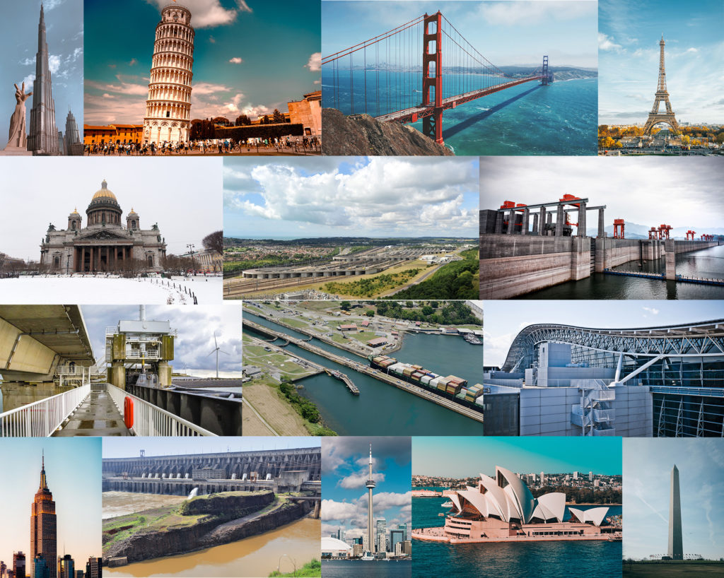 compilation of photos of civil engineering wonders of the world such as bridges, dams, and buildings