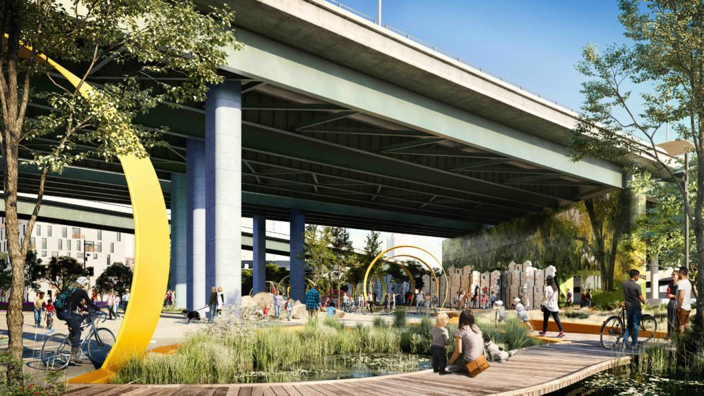 the space under a viaduct has been turned into a shaded garden with people enjoying the space