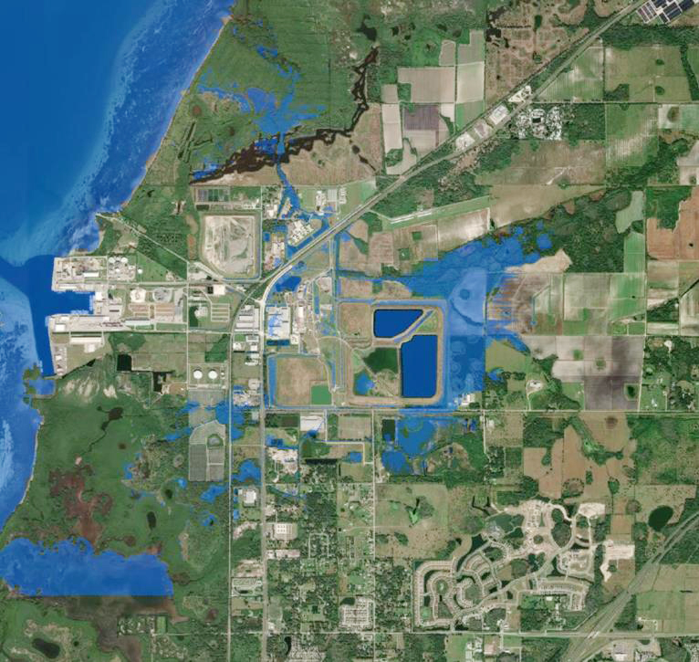 inundation map of the area surrounding Piney Point in Florida