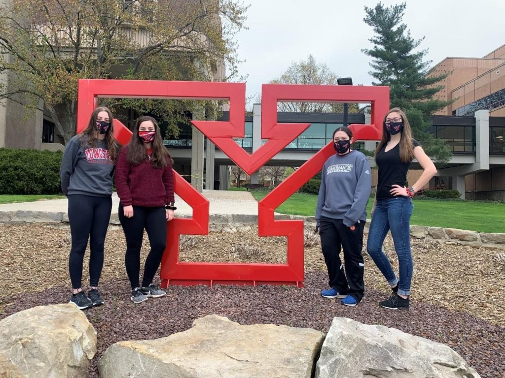 Youngstown State University fields the first all-female concrete canoe team in competition history. PHOTO: Youngstown State University concrete canoe team
