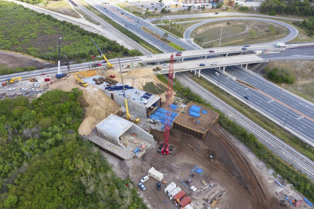 aerial of highway and underpass